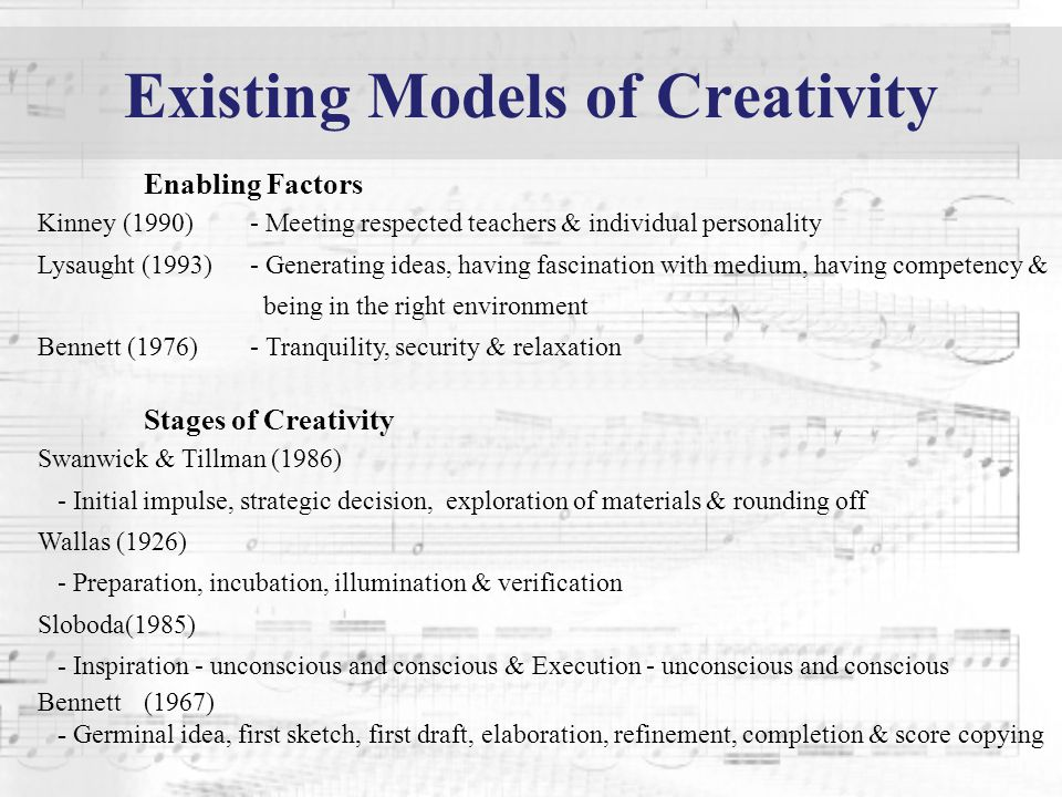 Existing Models of Creativity Enabling Factors Kinney (1990)- Meeting respected teachers & individual personality Lysaught (1993)- Generating ideas, h