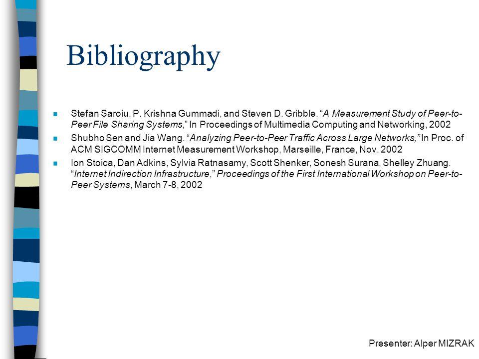 Presenter: Alper MIZRAK Bibliography n Stefan Saroiu, P.