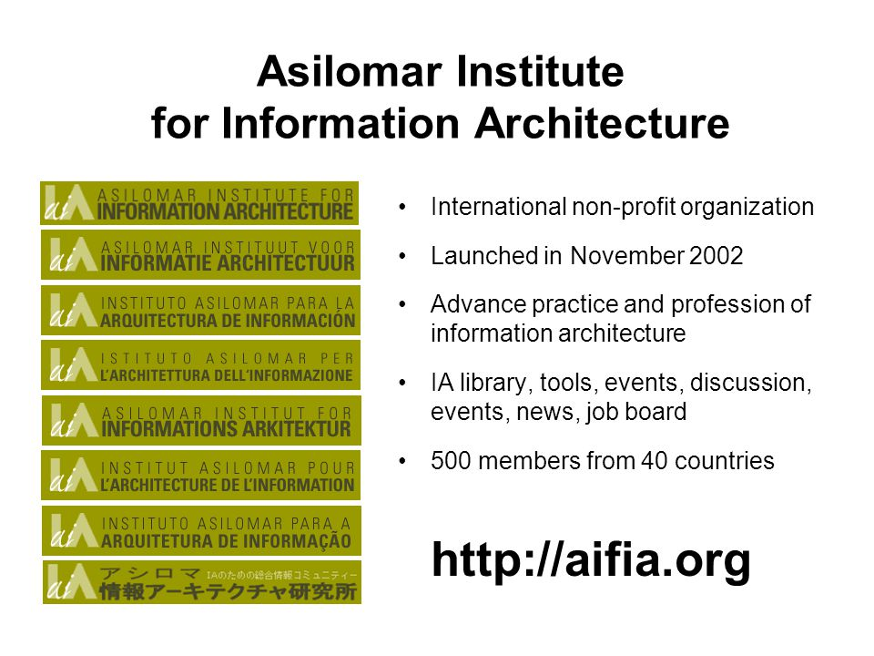 morville@semanticstudios.com 4 Asilomar Institute for Information Architecture International non-profit organization Launched in November 2002 Advance practice and profession of information architecture IA library, tools, events, discussion, events, news, job board 500 members from 40 countries http://aifia.org