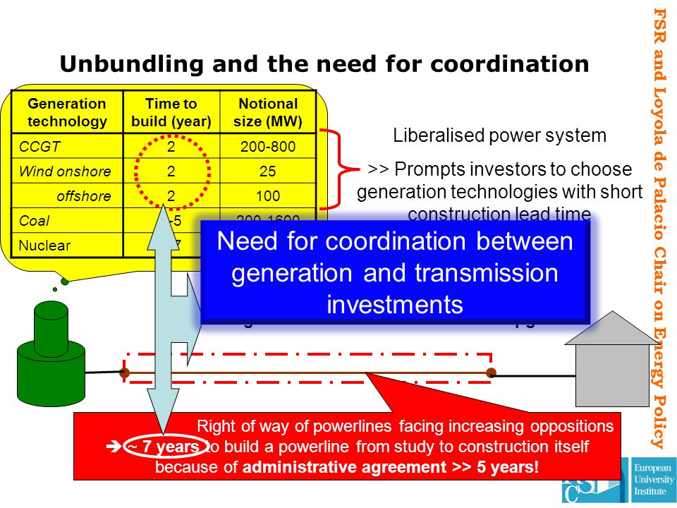 FSR and Loyola de Palacio Chair on Energy Policy Unbundling and the need for coordination Liberalised power system >> Prompts investors to choose gene