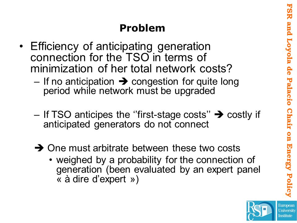FSR and Loyola de Palacio Chair on Energy Policy Problem Efficiency of anticipating generation connection for the TSO in terms of minimization of her