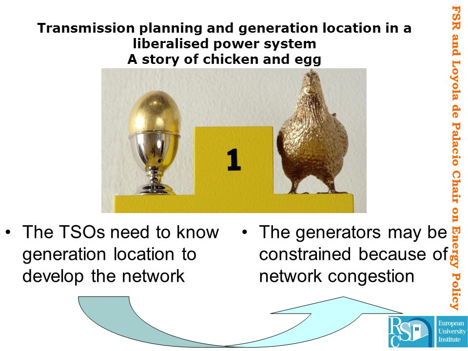 FSR and Loyola de Palacio Chair on Energy Policy Transmission planning and generation location in a liberalised power system A story of chicken and eg