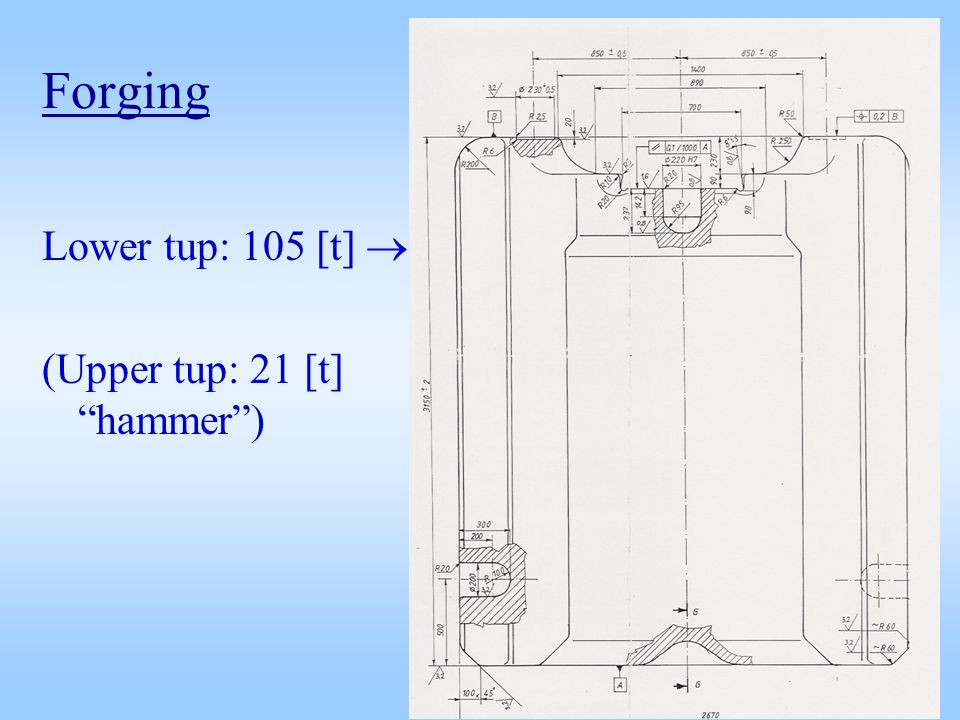 Forging Lower tup: 105 [t] (Upper tup: 21 [t] hammer)