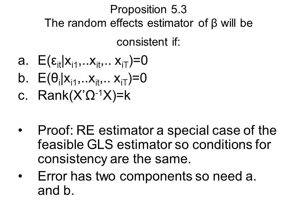 Proposition 5.3 The random effects estimator of β will be consistent if: a.E(ε it |x i1,..x it,..