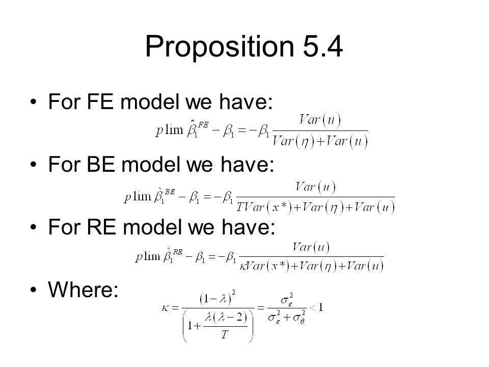 Proposition 5.4 For FE model we have: For BE model we have: For RE model we have: Where: