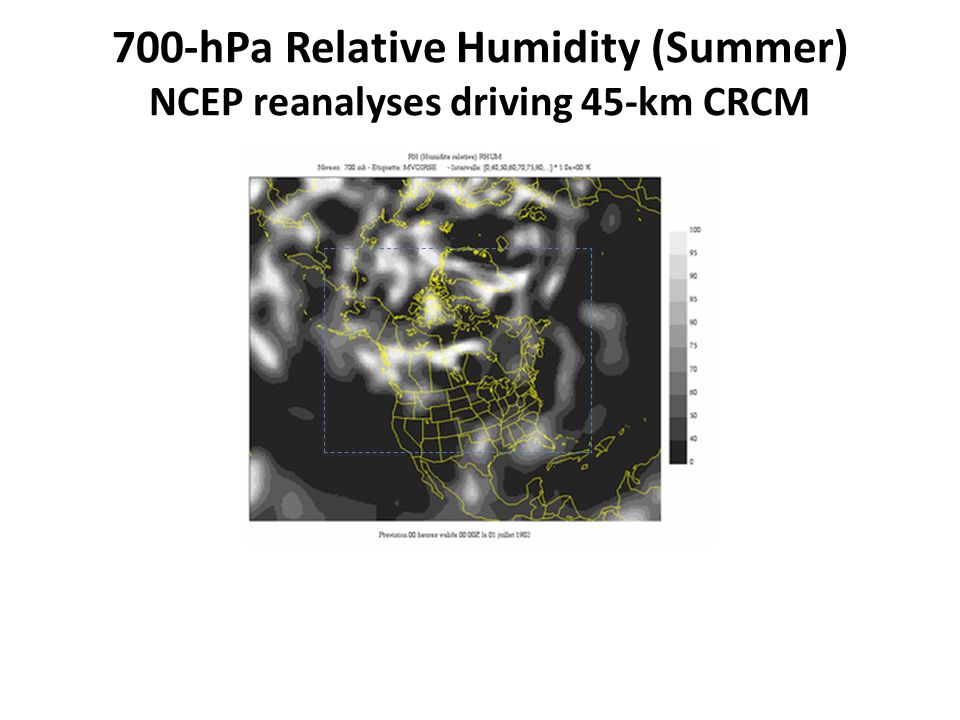 700-hPa Relative Humidity (Summer) NCEP reanalyses driving 45-km CRCM