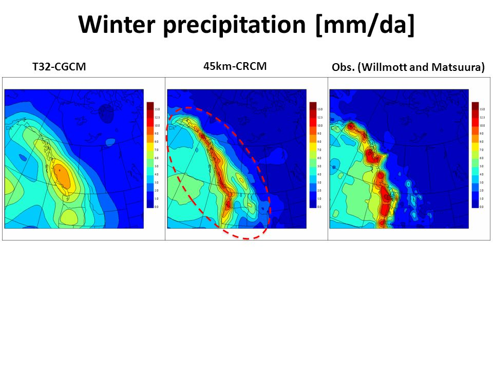 Winter precipitation [mm/da] T32-CGCM 45km-CRCM Obs. (Willmott and Matsuura)