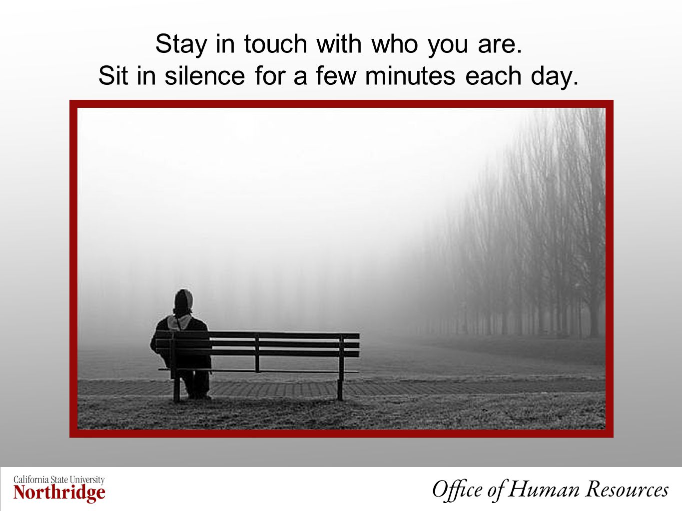 Stay in touch with who you are. Sit in silence for a few minutes each day.