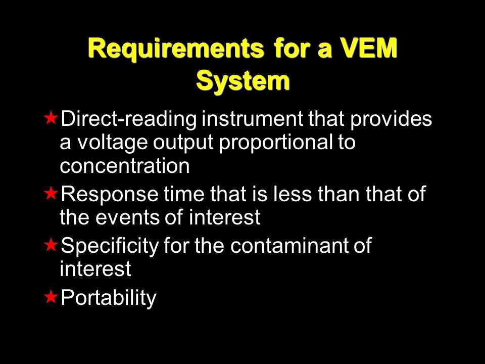 Requirements for a VEM System Direct-reading instrument that provides a voltage output proportional to concentration Response time that is less than t