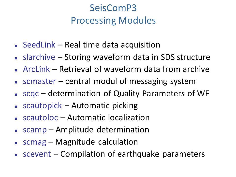 SeedLink – Real time data acquisition slarchive – Storing waveform data in SDS structure ArcLink – Retrieval of waveform data from archive scmaster –
