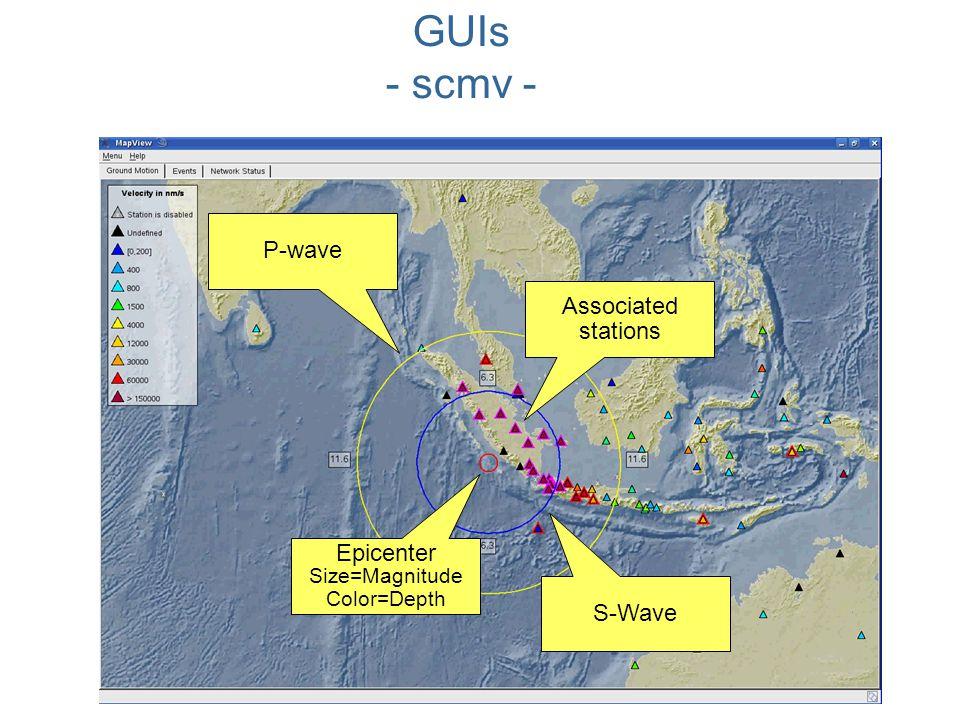 Epicenter Size=Magnitude Color=Depth S-Wave Associated stations P-wave GUIs - scmv -