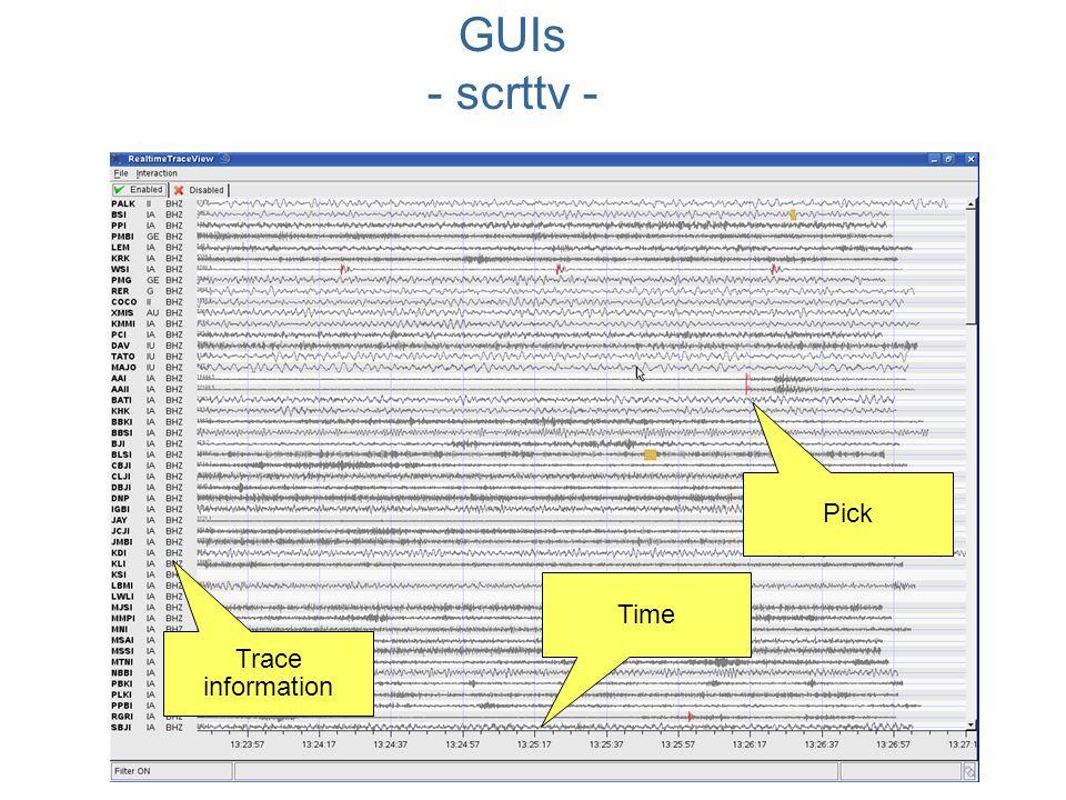 Trace information Pick Time GUIs - scrttv -