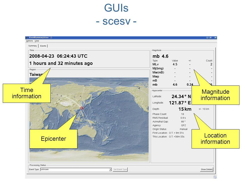 GUIs - scesv - Time information Magnitude information Location information Epicenter