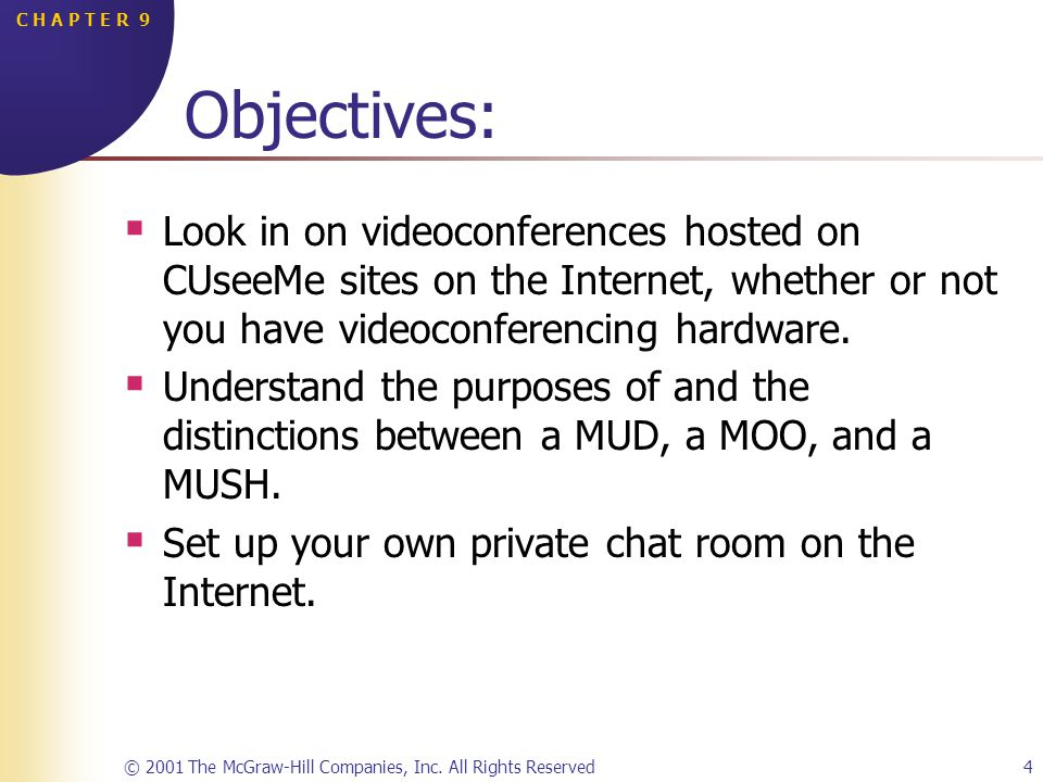 © 2001 The McGraw-Hill Companies, Inc. All Rights Reserved4 C H A P T E R 9 Objectives: Look in on videoconferences hosted on CUseeMe sites on the Int