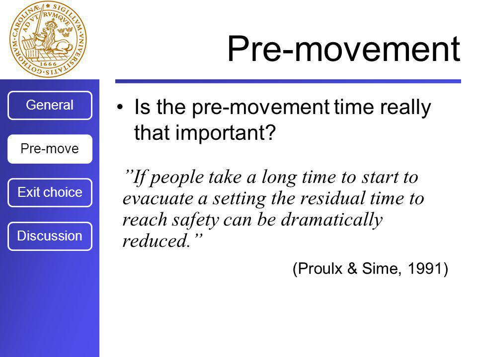 General Exit choice Discussion Pre-move Pre-movement Is the pre-movement time really that important? (Sime, Creed, Kimura & Powell, 1992) The most imp