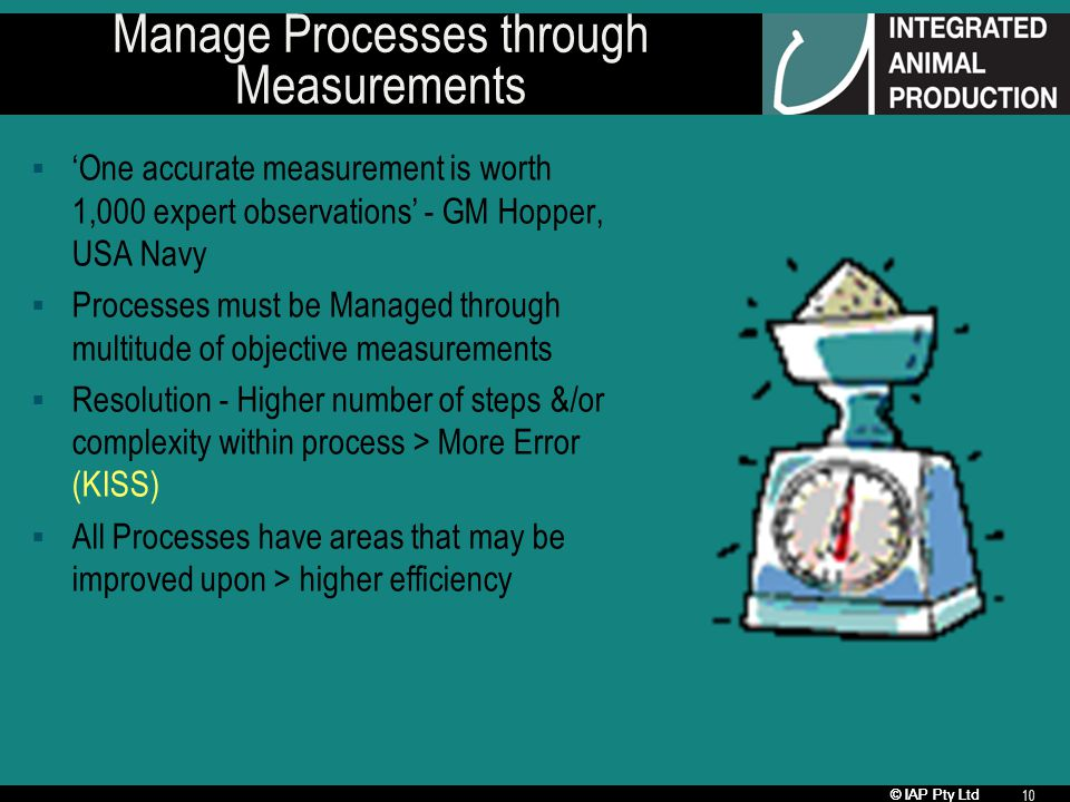 © IAP Pty Ltd 10 Manage Processes through Measurements One accurate measurement is worth 1,000 expert observations - GM Hopper, USA Navy Processes must be Managed through multitude of objective measurements Resolution - Higher number of steps &/or complexity within process > More Error (KISS) All Processes have areas that may be improved upon > higher efficiency