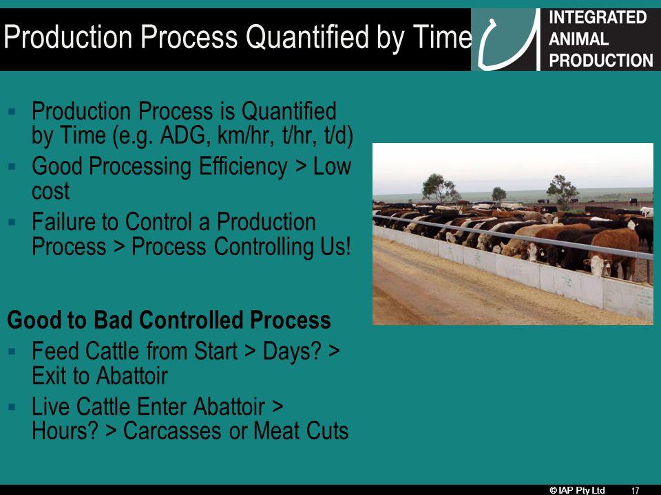 © IAP Pty Ltd 17 Production Process Quantified by Time Production Process is Quantified by Time (e.g. ADG, km/hr, t/hr, t/d) Good Processing Efficienc