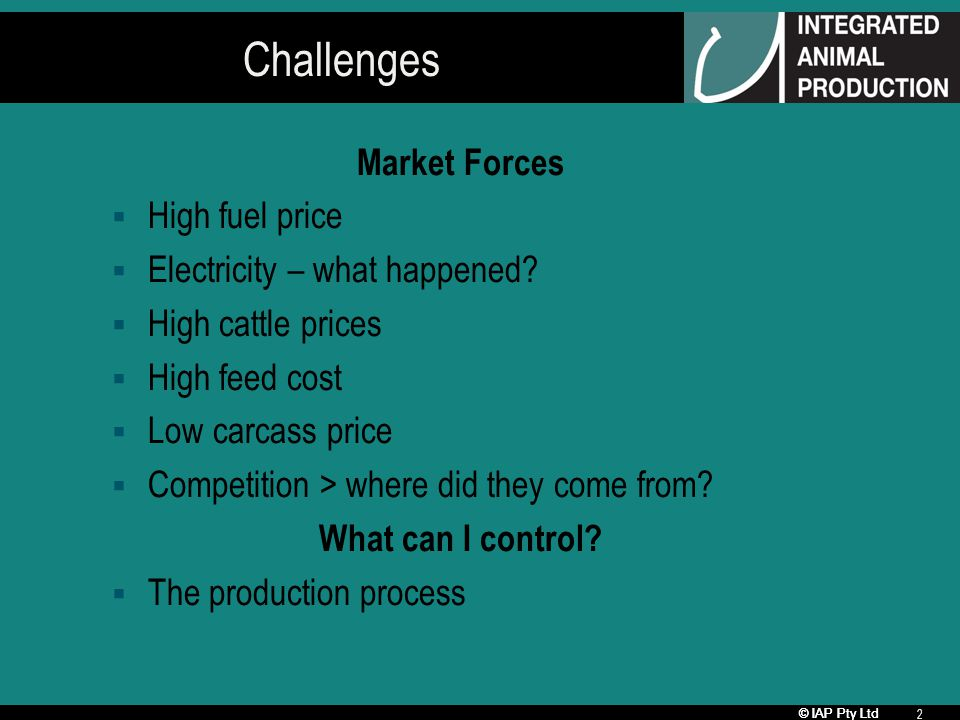 © IAP Pty Ltd 2 Challenges Market Forces High fuel price Electricity – what happened.