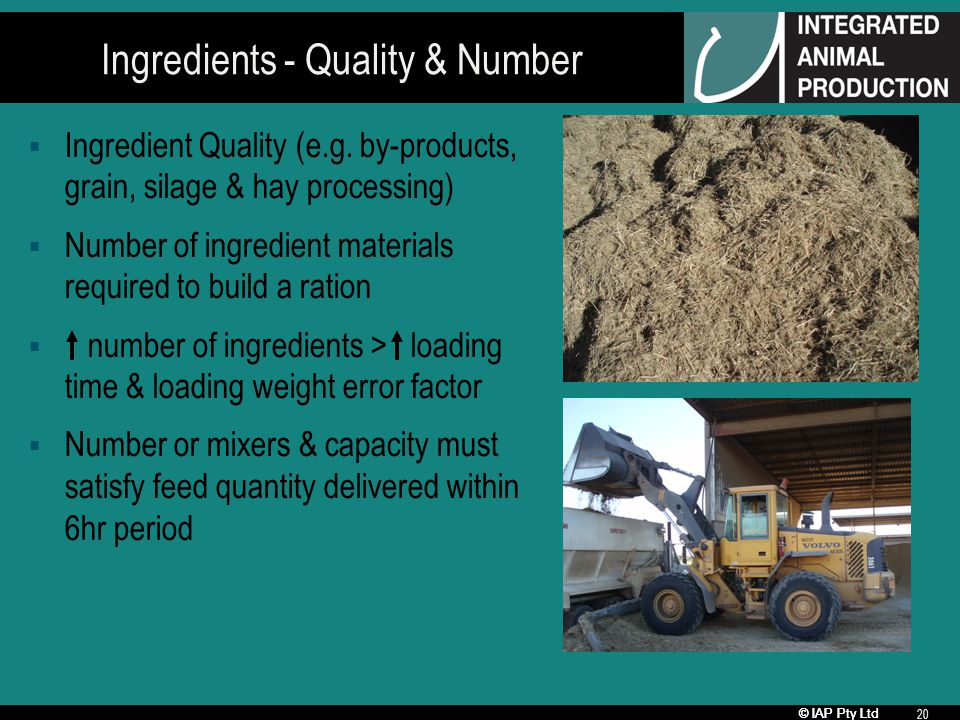 © IAP Pty Ltd 20 Ingredients - Quality & Number Ingredient Quality (e.g.