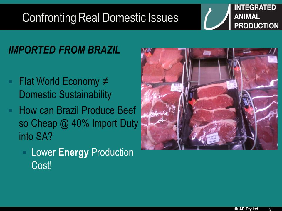 © IAP Pty Ltd 5 Confronting Real Domestic Issues IMPORTED FROM BRAZIL Flat World Economy Domestic Sustainability How can Brazil Produce Beef so Cheap @ 40% Import Duty into SA.
