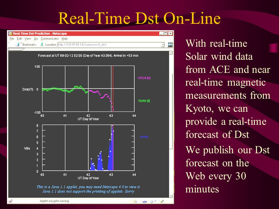 Real-Time Dst On-Line With real-time Solar wind data from ACE and near real-time magnetic measurements from Kyoto, we can provide a real-time forecast of Dst We publish our Dst forecast on the Web every 30 minutes