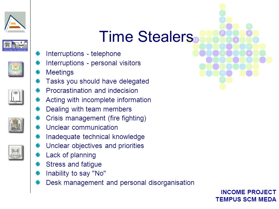 INCOME PROJECT TEMPUS SCM MEDA Time Stealers Interruptions - telephone Interruptions - personal visitors Meetings Tasks you should have delegated Proc