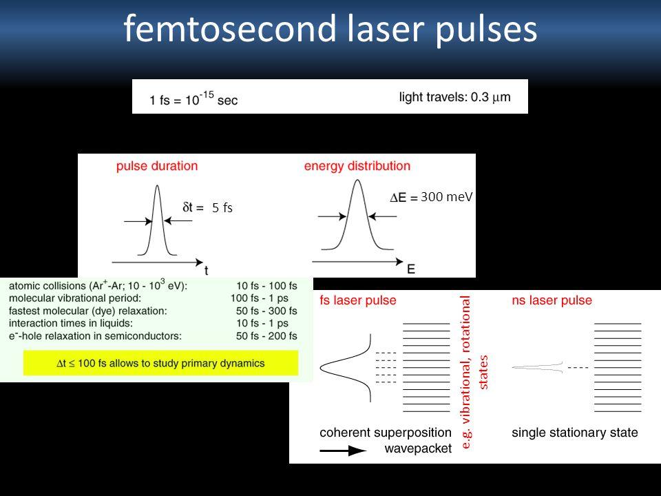 femtosecond laser pulses 5 fs 300 meV e.g. vibrational, rotational states