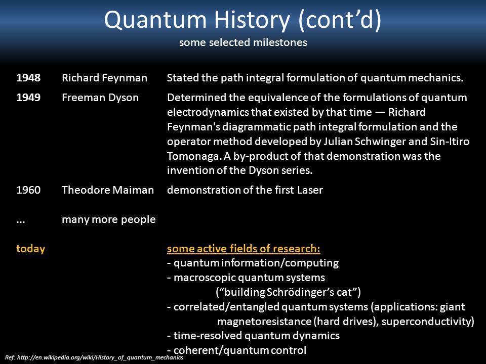 Quantum History (contd) some selected milestones 1948Richard FeynmanStated the path integral formulation of quantum mechanics. 1949Freeman DysonDeterm