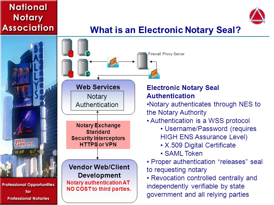 Vendor Web/Client Development Notary authentication AT NO COST to third parties.