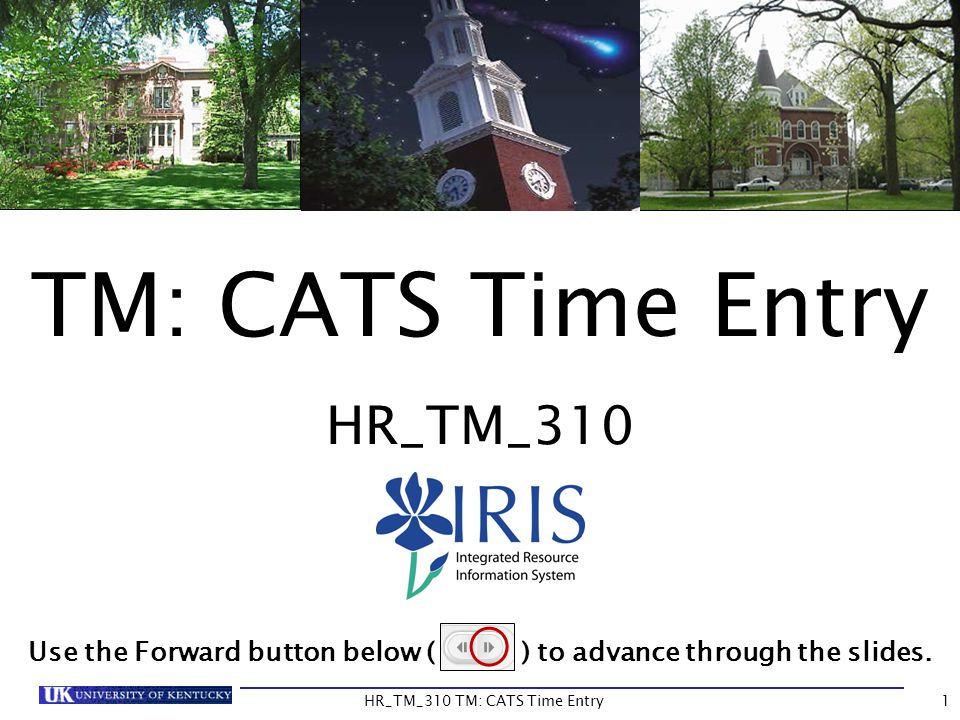 TM: CATS Time Entry HR_TM_310 Use the Forward button below ( ) to advance through the slides. 1HR_TM_310 TM: CATS Time Entry