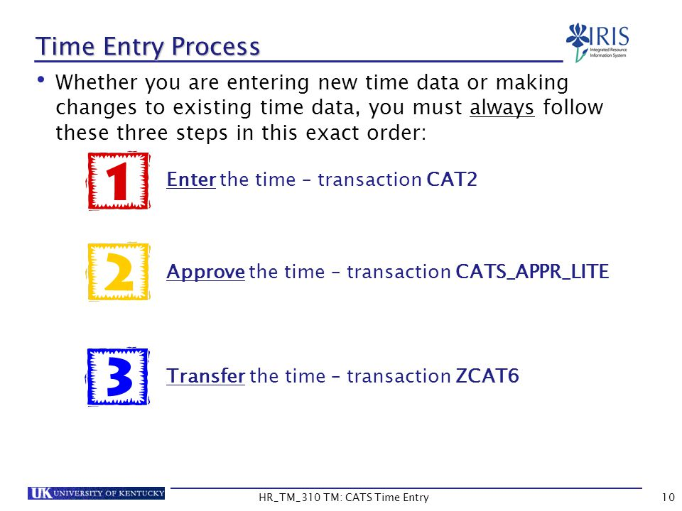 Time Entry Process Whether you are entering new time data or making changes to existing time data, you must always follow these three steps in this ex