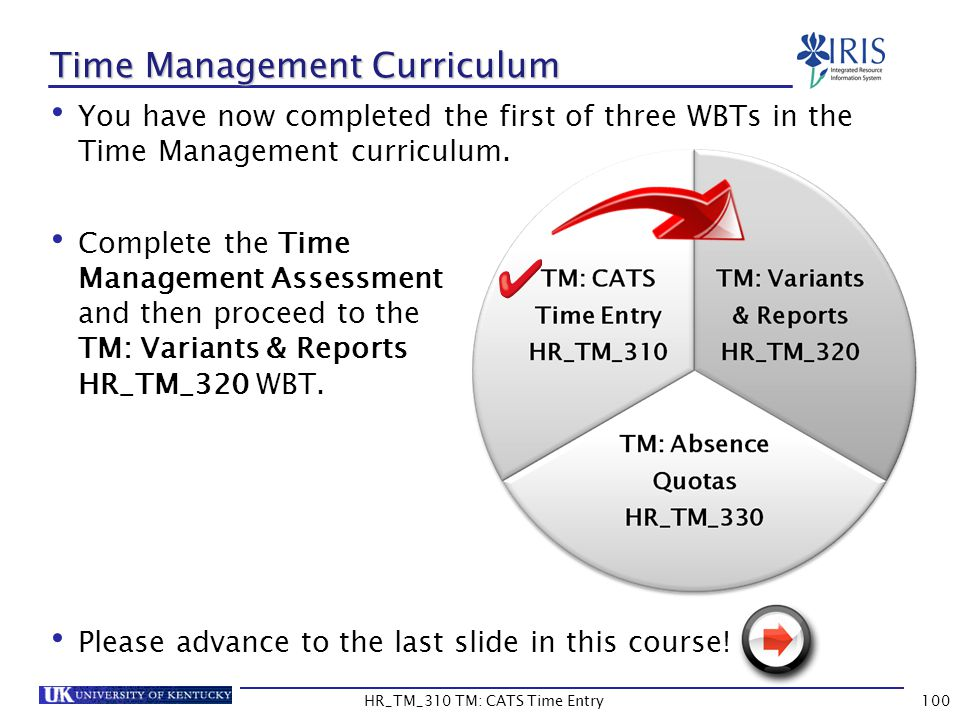 Time Management Curriculum You have now completed the first of three WBTs in the Time Management curriculum. Complete the Time Management Assessment a