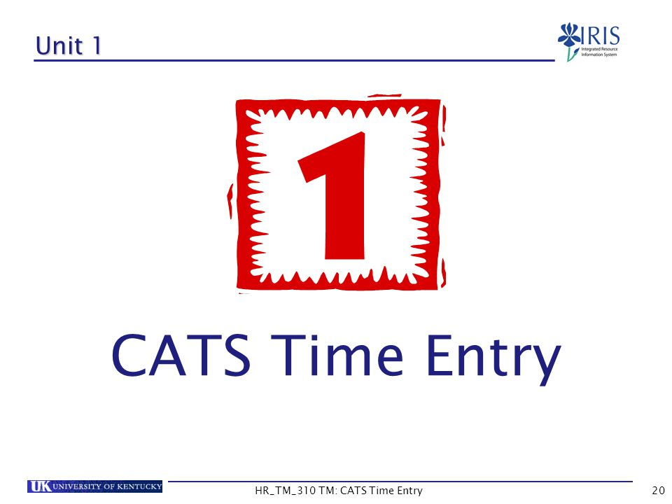 HR_TM_310 TM: CATS Time Entry20 Unit 1 CATS Time Entry