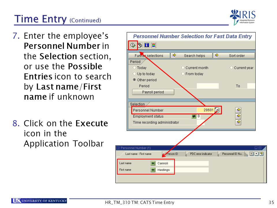 HR_TM_310 TM: CATS Time Entry35 Time Entry (Continued) 7.Enter the employees Personnel Number in the Selection section, or use the Possible Entries ic