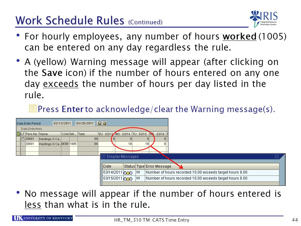 Work Schedule Rules (Continued) For hourly employees, any number of hours worked (1005) can be entered on any day regardless the rule. A (yellow) Warn