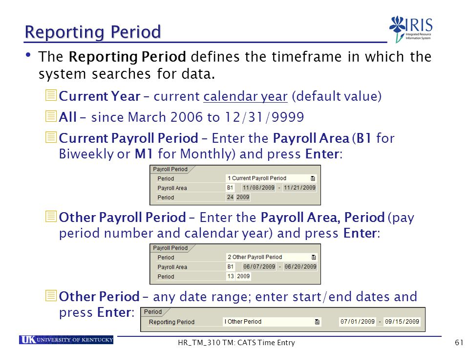 Reporting Period The Reporting Period defines the timeframe in which the system searches for data. Current Year – current calendar year (default value
