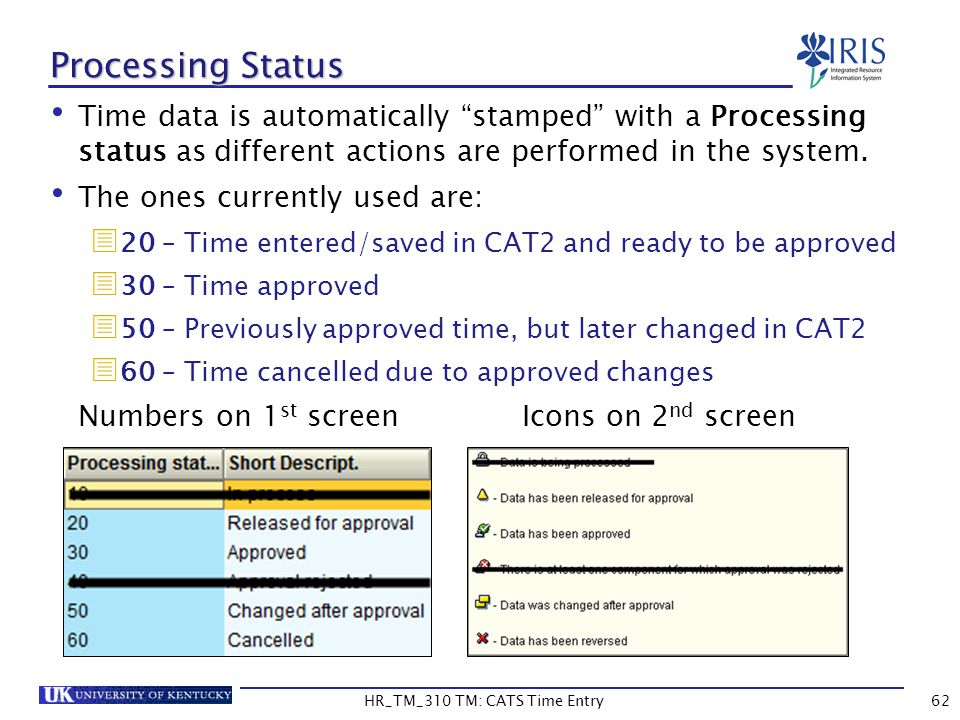 Time data is automatically stamped with a Processing status as different actions are performed in the system. The ones currently used are: 20 – Time e