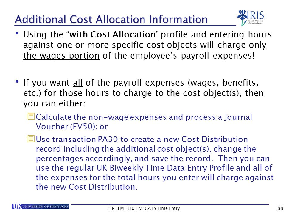 Additional Cost Allocation Information Using the with Cost Allocation profile and entering hours against one or more specific cost objects will charge