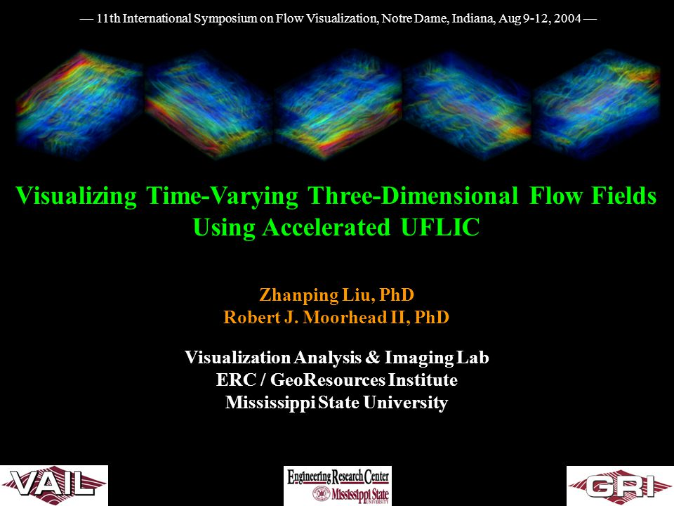 Visualizing Time-Varying Three-Dimensional Flow Fields Using Accelerated UFLIC Zhanping Liu, PhD Robert J. Moorhead II, PhD Visualization Analysis & I