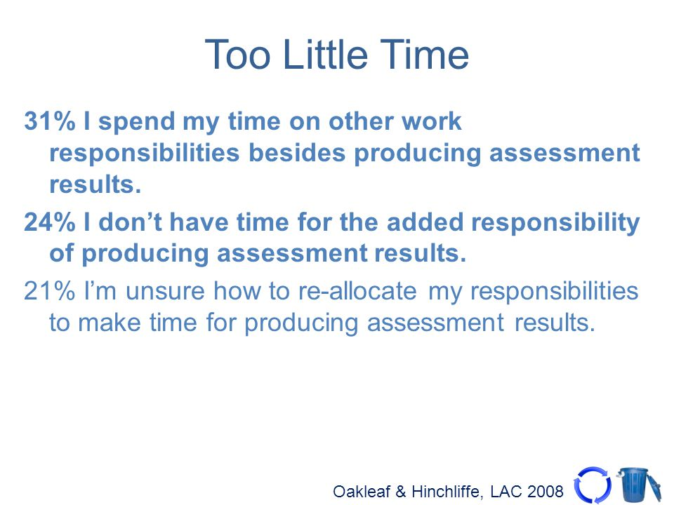 Oakleaf & Hinchliffe, LAC 2008 Too Little Time 31% I spend my time on other work responsibilities besides producing assessment results.