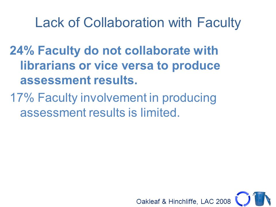 Oakleaf & Hinchliffe, LAC 2008 Lack of Collaboration with Faculty 24% Faculty do not collaborate with librarians or vice versa to produce assessment results.