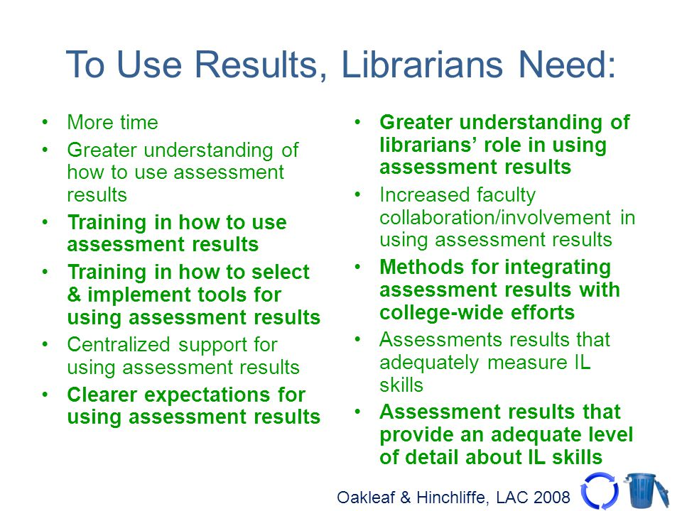 Oakleaf & Hinchliffe, LAC 2008 To Use Results, Librarians Need: More time Greater understanding of how to use assessment results Training in how to us
