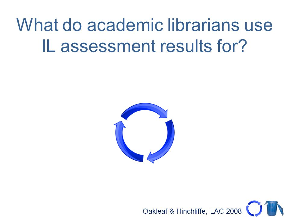 Oakleaf & Hinchliffe, LAC 2008 What do academic librarians use IL assessment results for?