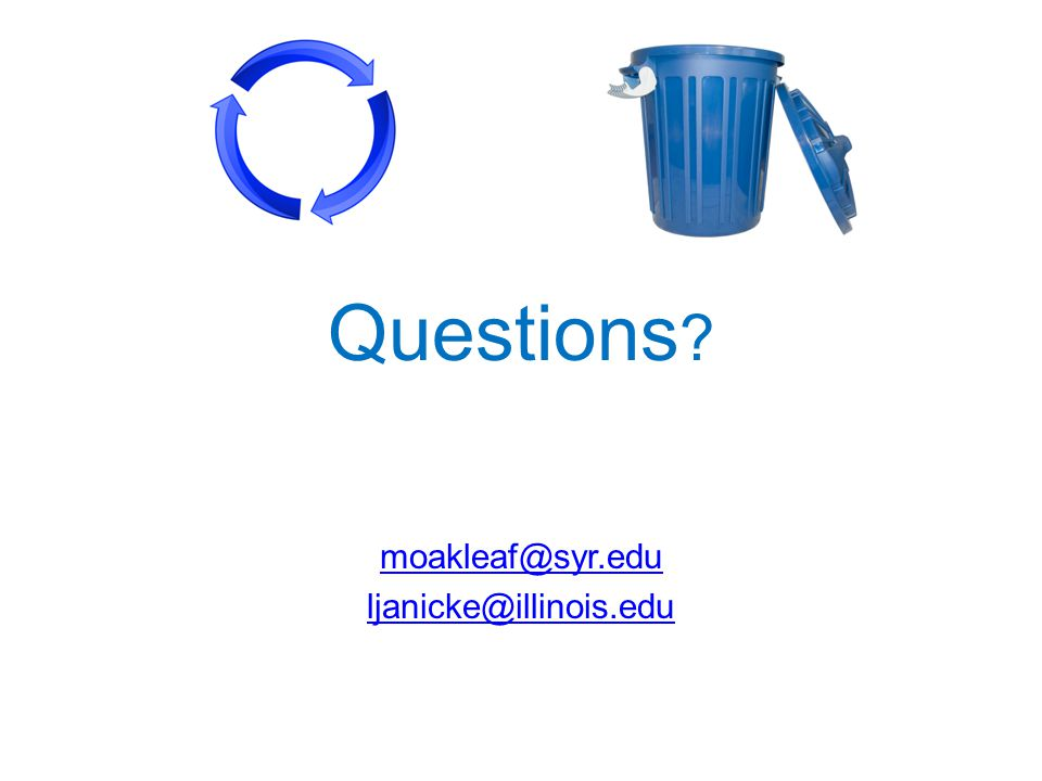 Questions moakleaf@syr.edu ljanicke@illinois.edu