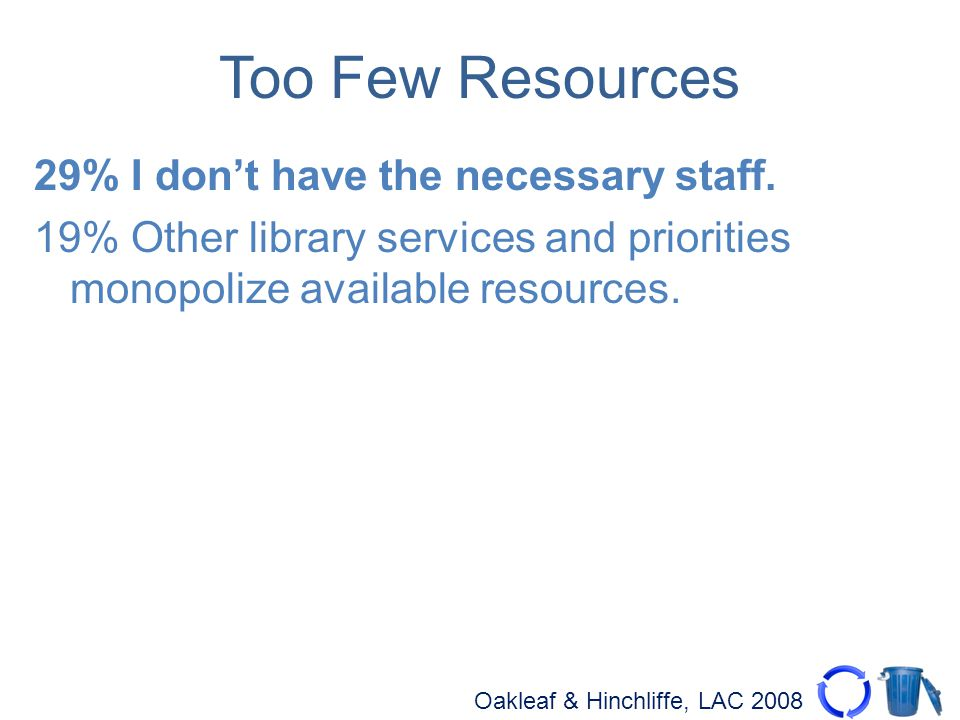 Oakleaf & Hinchliffe, LAC 2008 Too Few Resources 29% I dont have the necessary staff.