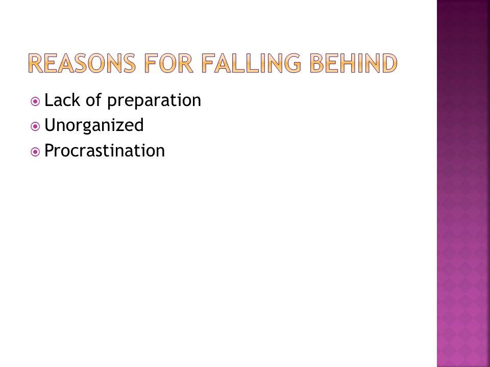 Lack of preparation Unorganized Procrastination