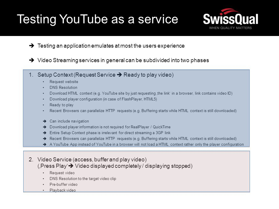Testing YouTube as a service Testing an application emulates at most the users experience Video Streaming services in general can be subdivided into t