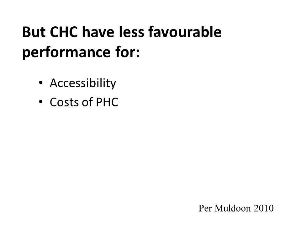 But CHC have less favourable performance for: Accessibility Costs of PHC Per Muldoon 2010