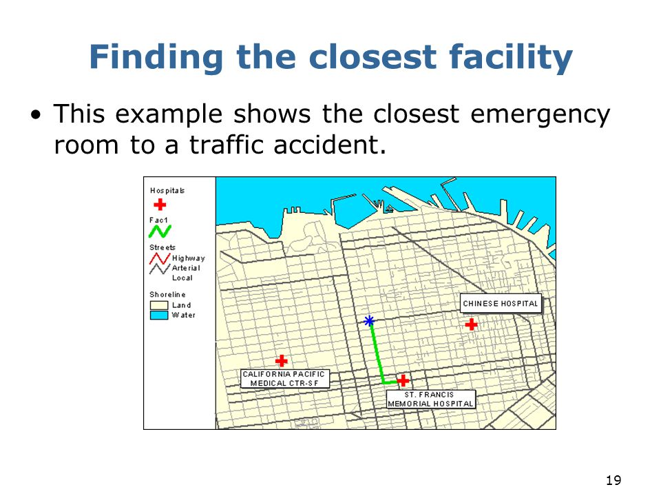 19 Finding the closest facility This example shows the closest emergency room to a traffic accident.