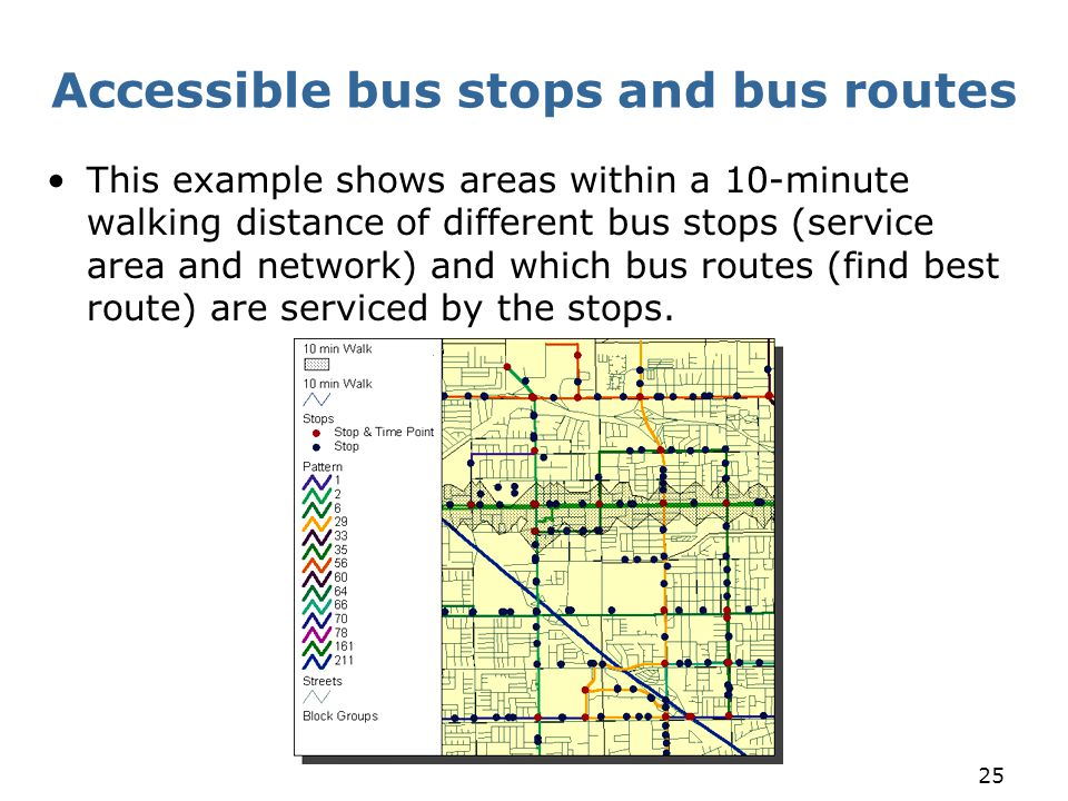 25 Accessible bus stops and bus routes This example shows areas within a 10-minute walking distance of different bus stops (service area and network)